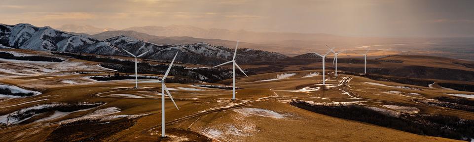 Titelbild Windenergie - Blick auf einen Windpark
